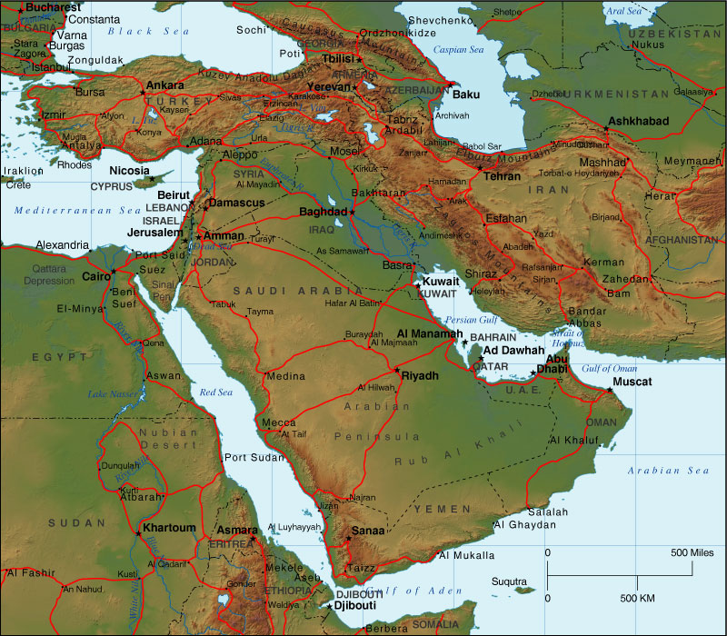 Physical Middle East Map%0A globalhistorycullen Everything Middle East post
